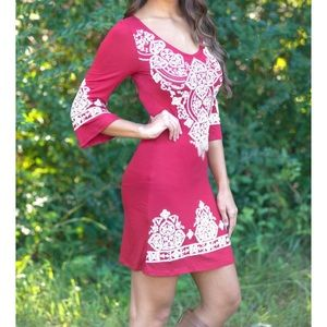 Dresses & Skirts - Red embroidered dress
